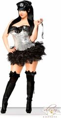 4 PC Silver Sequin Pin-Up Cop Costume