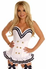 Top Drawer White Navy Officer Overbust Steel Boned Corset