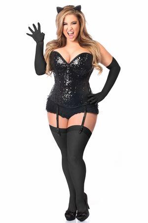 Top Drawer 4 PC Sequin Black Cat Corset Costume