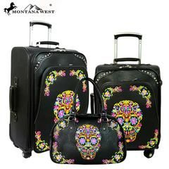 Montana West Sugar Skull Collection 3 PC Luggage Set -Black