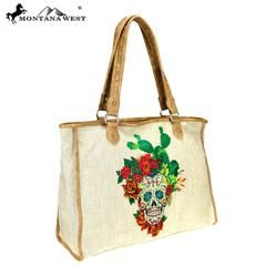 Montana West Sugar Skull Collection Canvas Tote Bag