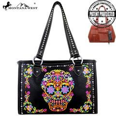 Montana West Sugar Skull Collection Concealed Carry Wide Tote