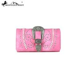 Montana West Buckle Collection Secretary Style Wallet