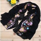 Black embroidered Flora Scarf
