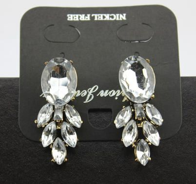 Vintage Brand Crew Style Clear Crystal Leaf Statement Earrings