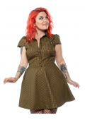 SOURPUSS CHECK DRESS MUSTARD