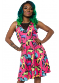 SOURPUSS SPHYNX MESH V NECK DRESS