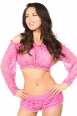 Pink Sheer Lace Long Sleeve Peasant Top