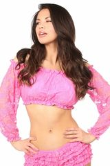 Pink Lined Lace Long Sleeve Peasant Top