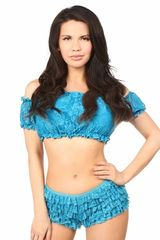 Teal Lined Lace Short Sleeve Peasant Top