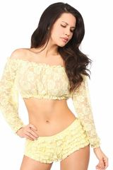 Yellow Sheer Lace Long Sleeve Peasant Top