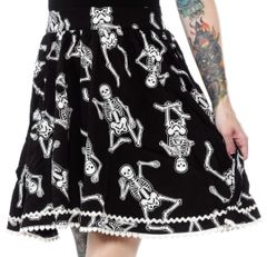 SOURPUSS DANCING SKELETONS SKIRT