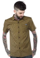 KUSTOM KREEPS CHECK BUTTON DOWN MUSTARD