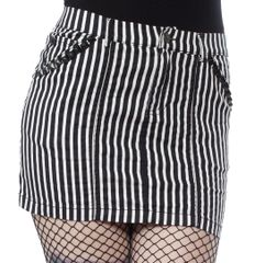 SOURPUSS STRIPED STUDDED MINI SKIRT