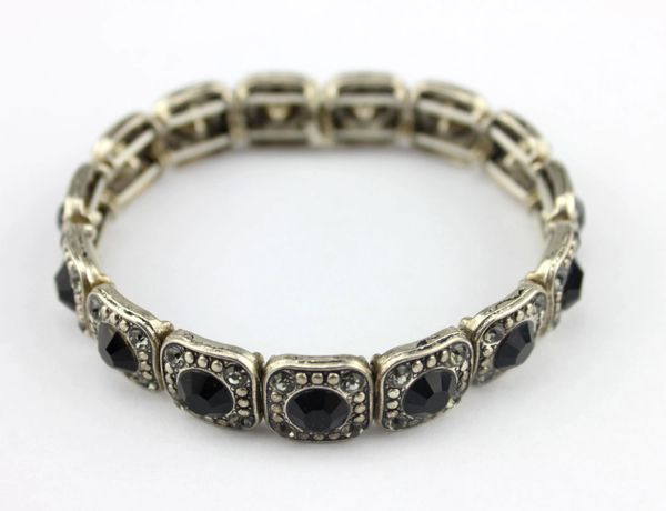 Black Crystal Gem Silver Bracelet