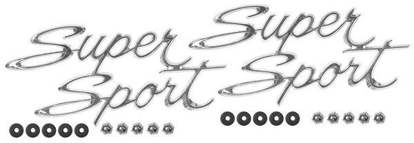 1966 - 1967 Super Sport Script Quarter Panel Emblems, New, FREE SHIPPING