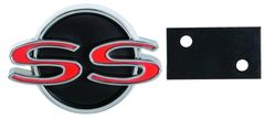 "1966 ""SS"" Grille Emblem with Retainer, New, FREE SHIPPING"