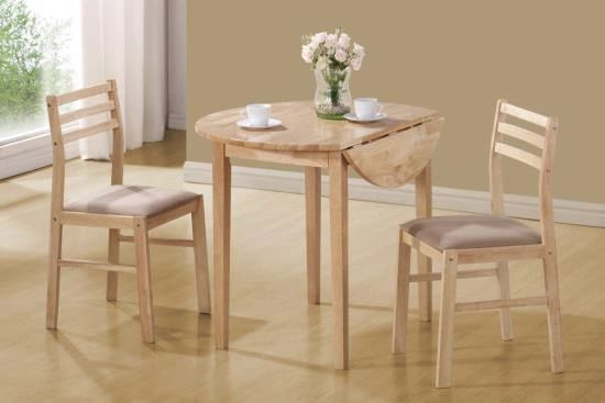 Coaster- 3 Piece 30 inch round table set with drop leaves on both sides.  Available in Cherry and Oak