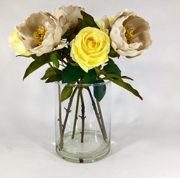 Real Touch Silk Peonies And Roses In Glass Vase Acrylic Water Centerpiece Flower Arrangement Home Decor