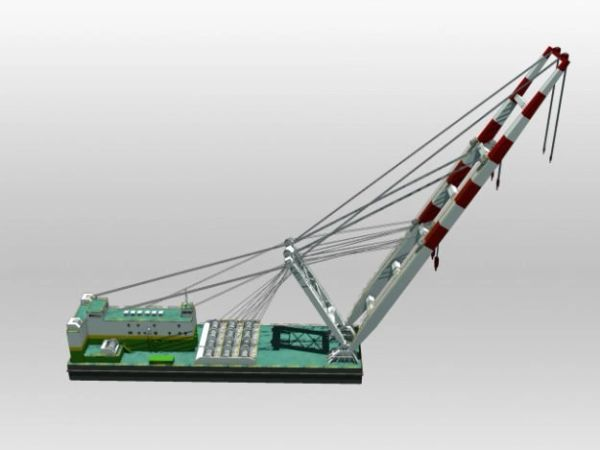 "1/96 36"" Sheerleg Crane Barge"