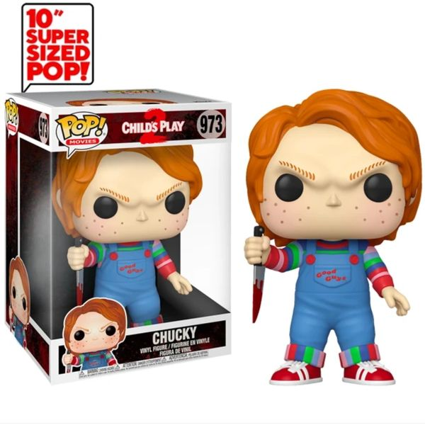 FUNKO POP! MOVIES: CHILDS PLAY 2 - CHUCKY #973 10 INCH SUPER SIZED!!