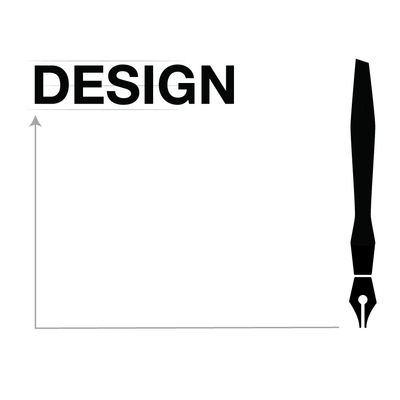 A graphical representation of graphic design services with a calligraphy-style pen, drafting lines,