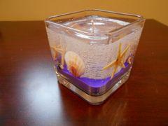 Small Square Seashells & Starfish Refillable Gel Candle