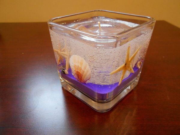 Small Square Seashells & Starfish Refillable Gel Candle