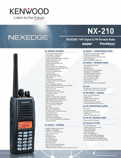 NX-210 NEXEDGE® VHF Digital & FM Portable Radio