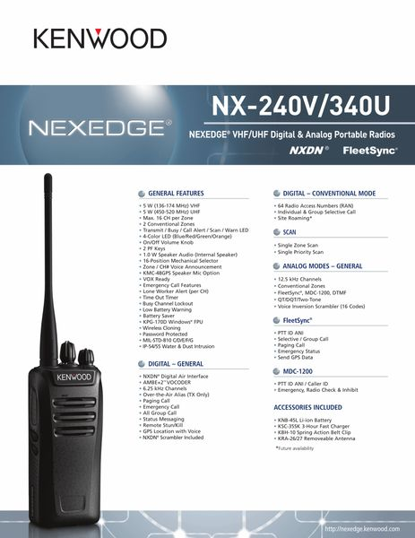 NX-240V/340U NEXEDGE® VHF/UHF Digital & Analog Portable Radio