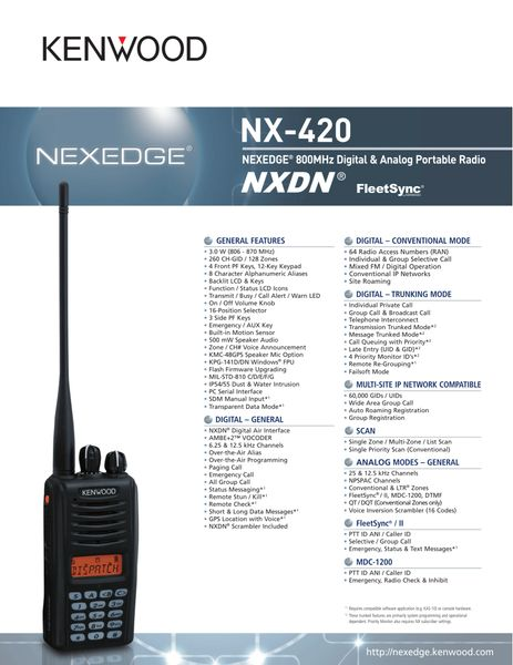 NX-420 NEXEDGE® 800MHz Digital & Analog Portable Radio