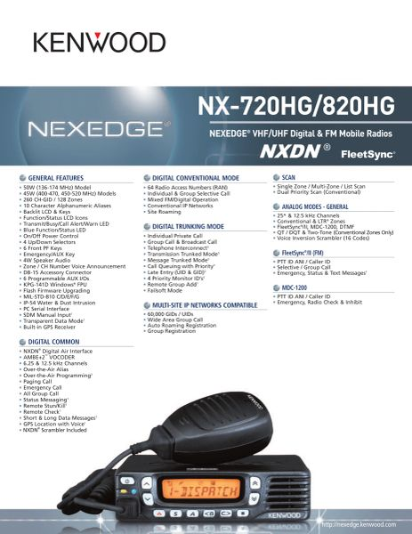 NX-720HG/820HG NEXEDGE® VHF/UHF Digital & FM Mobile Radios
