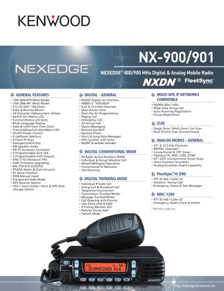 NX-900/901 NEXEDGE® 800/900 MHz Digital & Analog Mobile Radio