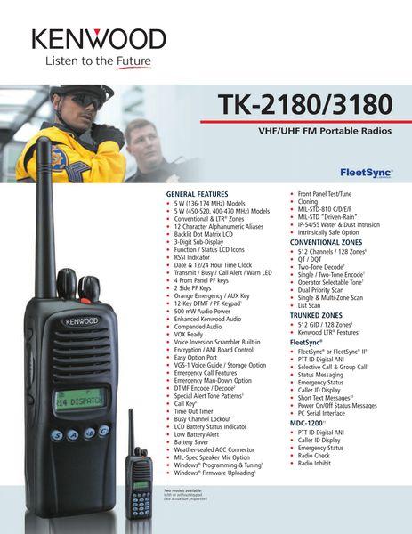 TK-2180/3180 VHF/UHF FM Portable Radios