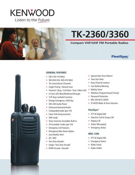 TK-2360/3360 Compact VHF/UHF FM Portable Radios