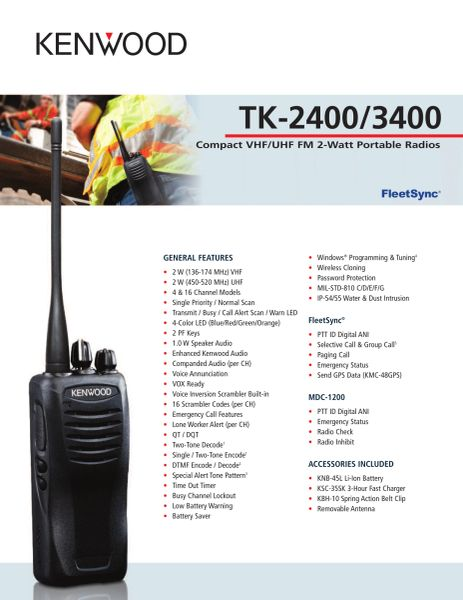 TK-2400/3400 Compact VHF/UHF FM 2-Watt Portable Radios