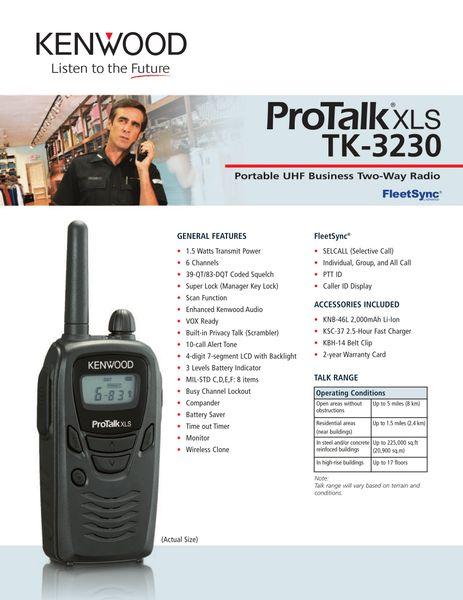 ProTalk XLS TK-3230 Portable UHF Business Two-Way Radio