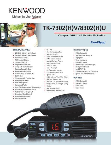 TK-7302(H)V/8302(H)U Compact VHF/UHF FM Mobile Radios