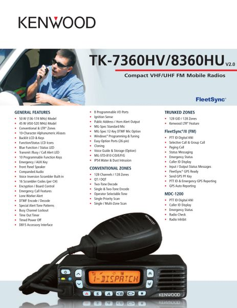 TK-7360HV/8360HU Compact VHF/UHF FM Mobile Radios