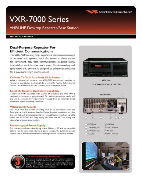 VXR-7000 Series VHF/UHF Desktop Repeater/Base Station