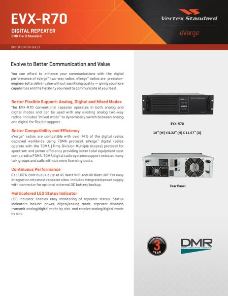 EVX-R70 DIGITAL REPEATER