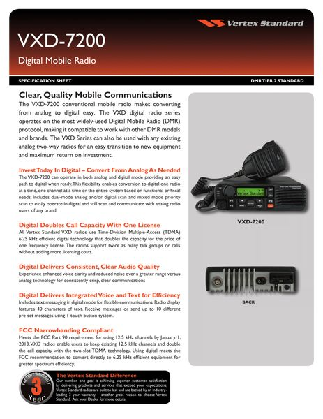 VXD-7200 Digital Mobile Radio
