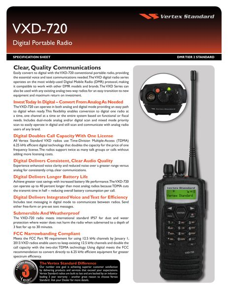 VXD-720 Digital Portable Radio