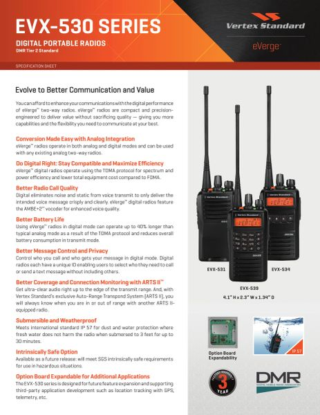 EVX-530 SERIES DIGITAL PORTABLE RADIOS