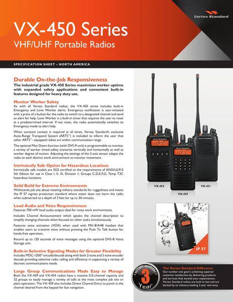 VX-450 Series VHF/UHF Portable Radios