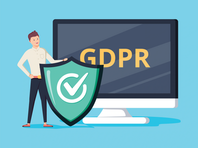 Smiling cartoon character with a shield in front of the screen showing GDPR letters