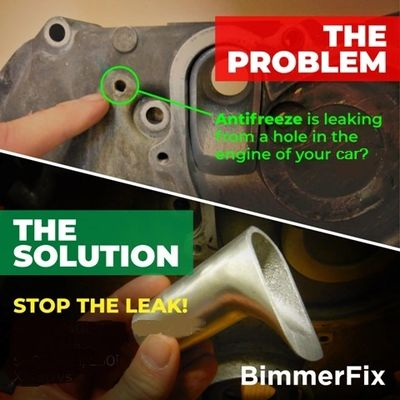 BimmerFix stops the BMW weep hole leak from the BMW coolant pipe no BMW N62 V8 and N73 V12 engines.