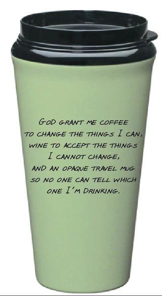 Travel Mug Serenity Prayer Tumbler - Green