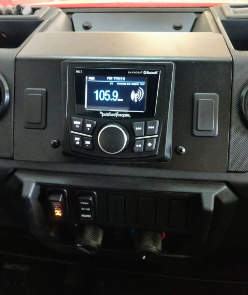"2018 - 2021 Polaris Ranger XP 1000 / 1000 Dash Mounted Audio Kit - Rockford Fosgate PMX-1 Receiver - Polk Audio 6.5"" Speakers - FM/AM - Bluetooth - Pandora Ready - Plug and Play - 100% Weather Proof - Optional Upgrades Available"