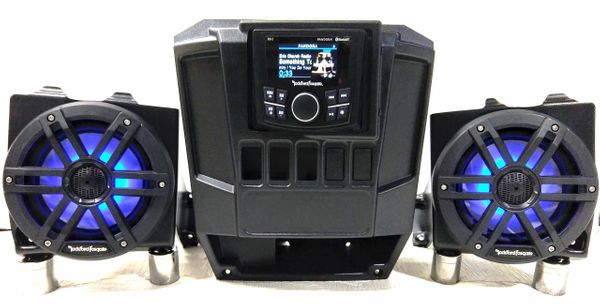 "2013-2019 Polaris Ranger Full Size XP 570/900/1000 Dash Mounted Audio Kit - Rockford Fosgate PMX-1 Media Receiver - 6"" Rockford Fosgate LED Speakers - FM/AM - Bluetooth - Plug and Play - 100% Weather Proof - Additional Options Available"